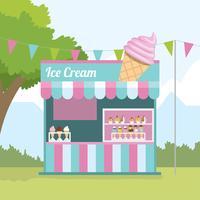 Concession de crème glacée stand vecteur libre