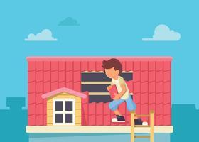 Ouvrier changeant la tuile de toit vecteur