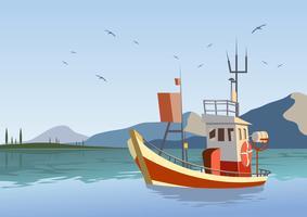 Vecteur de bateau chalutier en bois