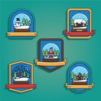 Vecteur de badge globe de neige