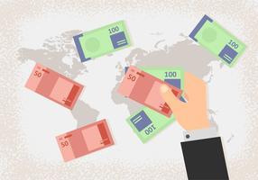 Échantillon d'argent dans le vecteur du monde