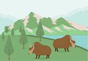 Vecteur de dessin animé de montagne plate Yak