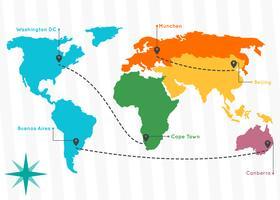 Vecteurs de cartes globales uniques gratuits vecteur