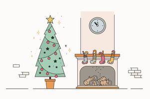 Vecteur gratuit de cheminée de Noël