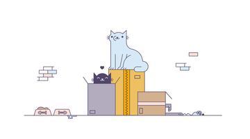 Chats libres jouant le vecteur