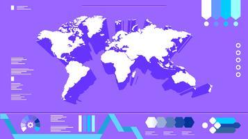 Vecteur libre de cartes globales infographique