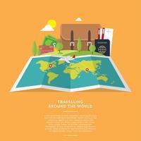 Carte mondiale voyageant vecteur libre