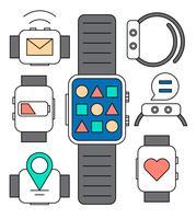 Linéaire Smart Watch Icônes vecteur