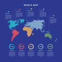 Infographie de carte du monde gratuit vecteur