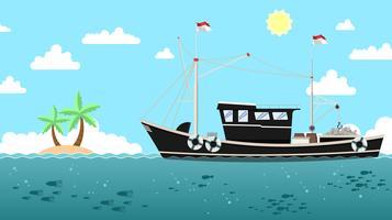 Vecteur gratuit Trawler traditionnel