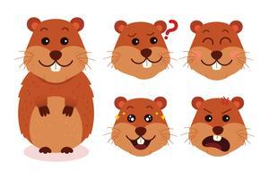 Expressions de dessin animé de Gopher vecteur