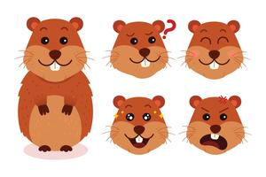 Expressions de dessin animé de Gopher
