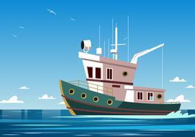 Vecteur de bateau à moteur Trawler