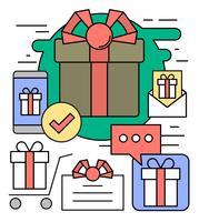 Icônes de cadeaux gratuits vecteur