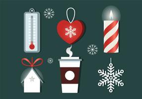 Éléments de Noël gratuits Design plat Vector