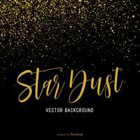 Poussière d'étoile d'or isolée sur fond de vecteur noir