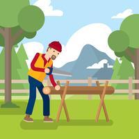 Woodcutter Handsaw Cartoon vecteur gratuit