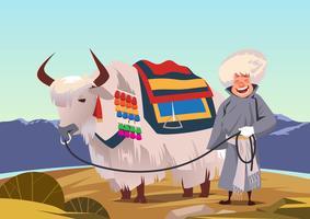 Homme avec un vecteur de yak