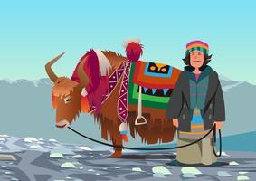 Femme tibétaine et son yak vecteur