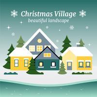 Paysage de Noël gratuit Design plat Vector