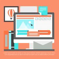 Éléments de bureau numérique gratuit Design plat Vector
