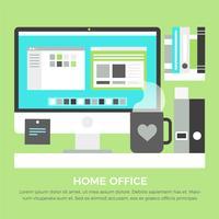 Éléments de bureau à domicile design plat gratuit