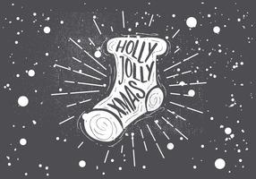 Carte de voeux de vecteur de chaussette de Noël dessiné à la main libre