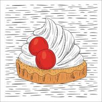 Illustration de gâteau vecteur dessiné à la main libre