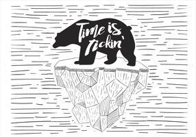 Illustration de Polarbear vecteur dessiné à main libre