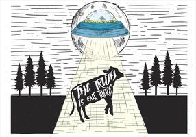 Illustration de vecteur UFO dessinés à la main libre
