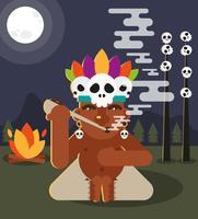 Shaman Native Smoke Pipe Plat Illustration vecteur