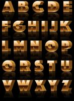 Alphabet de vecteur 3d or