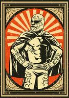 Affiche de lutteur mexicain Vintage vecteur