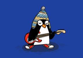 Vecteur de pingouin guitariste