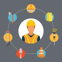 Vecteurs de travailleur de construction plate