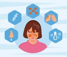 Visage libre de femmes avec le vecteur de maladie de sinusite