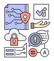 Éléments de réseau de données gratuits vecteur