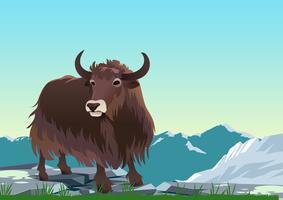 Yak tibétain en vecteur de montagnes