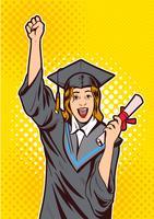 Excité de jeune fille avec vecteur de diplôme