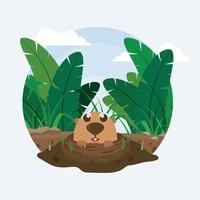 Illustration libre de Gopher Inside Hole