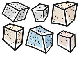Tofu de vecteur de style de dessin animé