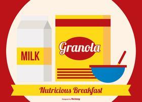 Boîte de granola avec lait et bol vecteur