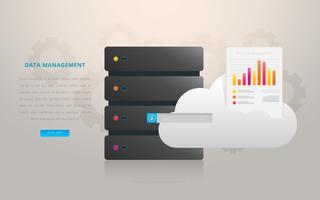 Centre de gestion du cloud de la base de données vecteur