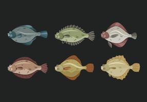 Flounder Fish Illustration vectorielle mignon