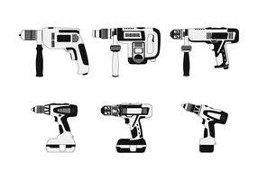 Collection de vecteur monochrome outils pneumatiques