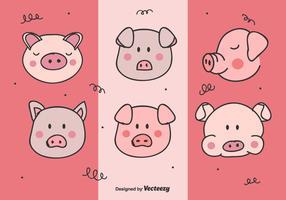 Set de vecteur de visage de cochon
