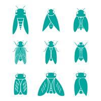 Cicada jeu d'icônes vecteur