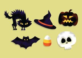 Vecteur gratuit d'éléments Halloween effrayant