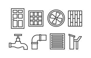 Jeu d'icônes de construction de maisons vecteur
