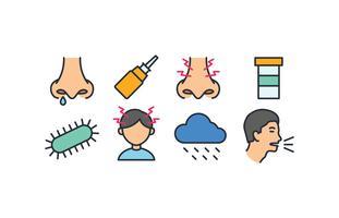 Paquet d'icônes de la sinusite vecteur